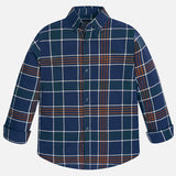 Checkered Navy & Orange L/S Buttondown Shirt Boy 7135 -  Mayoral