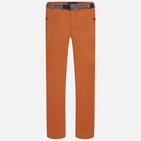 Burnt Orange Slim Fit Twill Trousers w/ Belt Big Boy 7513 -  Mayoral
