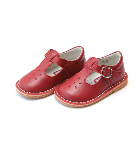L'Amour T-Strap Leather Mary Jane in Red 751