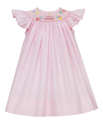 Birthday Angel Wing Bishop Dress in Light Micro Check - Petit Bebe  804