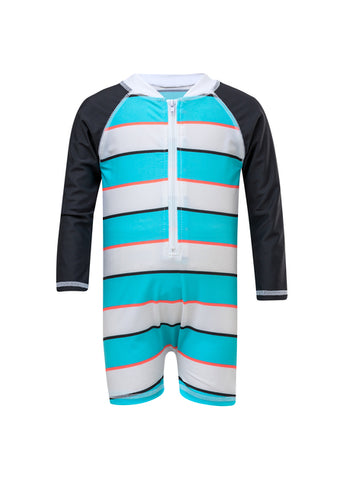 Aqua Stripe Boys Infant Long Sleeve Sunsuit - SnapperRock Spring 2019