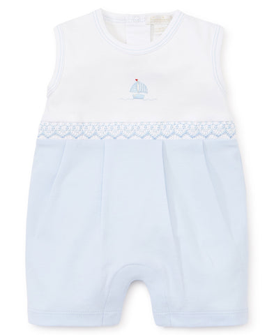 Kissy Kissy Sleeveless Playsuit in Sail Away Hand Smock Premier (Boys) - Spring 2019