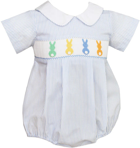 Cottontails Boy Bubble w/ Collar in Light Blue Stripes - Petit Bebe Spring 2019 808