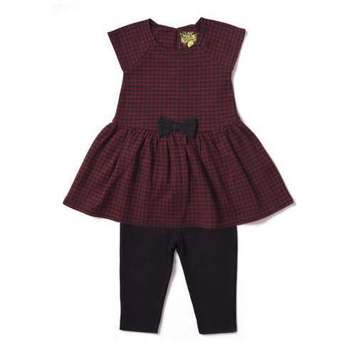 Crimson Houndstooth 2pc Set Knit Jacquard Dress w/ Leggings - Kapital K 20248