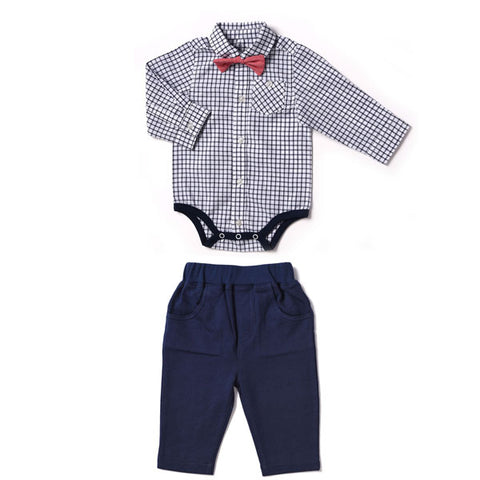 Navy Windowpane 2pc Set Plaid Bowtie Bodysuit and Pant - Kapital K 20713