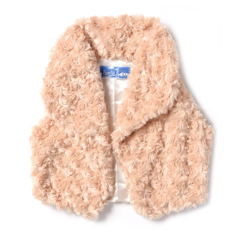 Birch Draped Collar Rose Bud Faux Fur Vest - Kapital K 20262