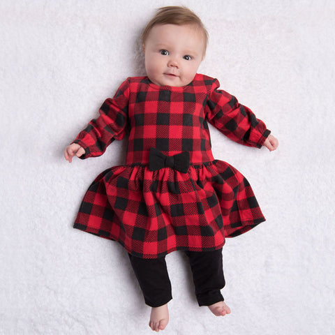 Buffalo Plaid 2pc Set Printed Fleece Dress & Leggings - Kapital K 20568