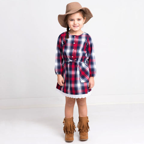 Manchester Red Plaid Flannel Dress w/ Eyelet Lace Trim - Kapital K 20236