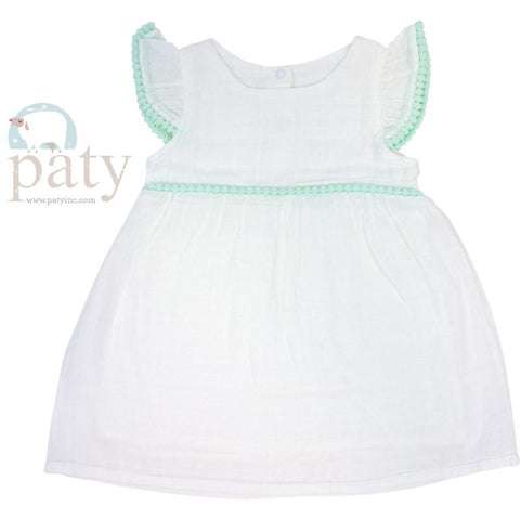 White Muslin/Bamboo Cotton Lined Dress Mint- Paty Inc. M106POM