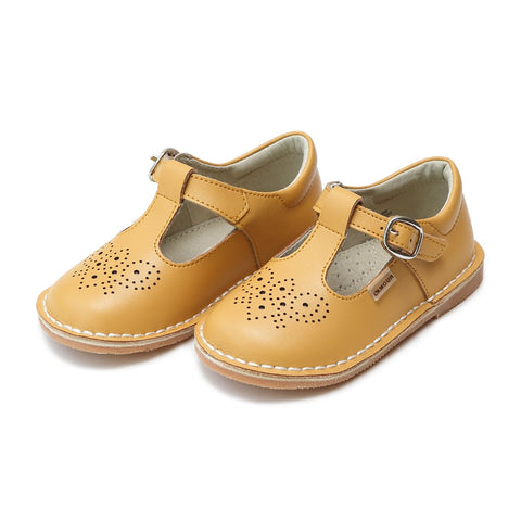 Ollie T-Strap Leather Mary Jane in Mustard - Lamour Angel Baby Shoe 766