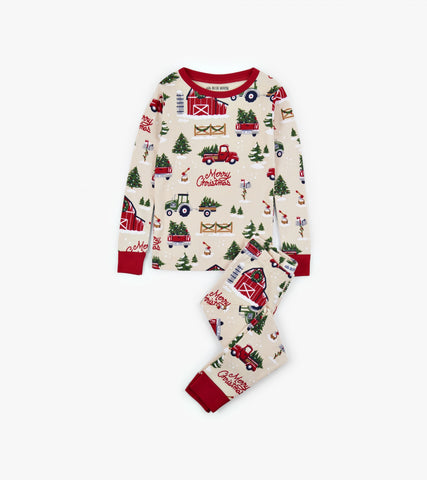 Country Christmas Kids PJ Set - Little Blue House By: Hatley