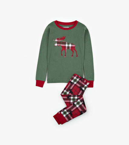 Holiday Moose on Plaid Kids Applique PJ Set - Little Blue House By: Hatley