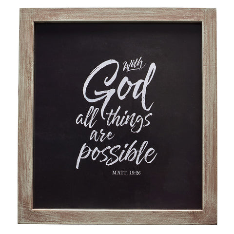 With God All Things Possible Wall Plaque - Matthew 19:26 PLA038
