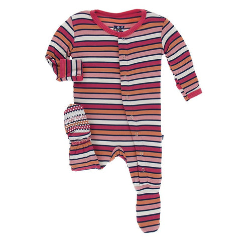 Botany Red Ginger Stripe Footie w/ Snaps - Kickee Pants