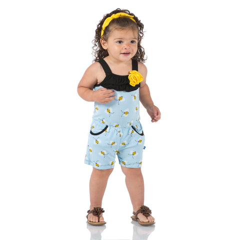 Kickee Pants Pond Bees Flower Romper w/ Pockets Spring 1-2018