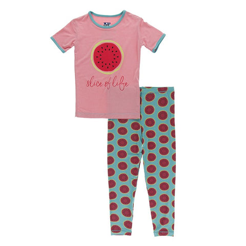 Strawberry Sweet Pea Short Sleeve PJ Set - Kickee Pants