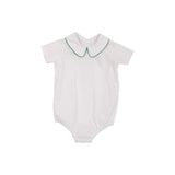 Peter Pan Collar Onesie/Shirt White Woven w/ Kiawah Kelly Green Trim  - The Beaufort Bonnet Company