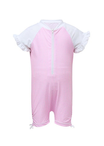 Pink Gingham Girls Infant Short Sleeve Sunsuit SnapperRock
