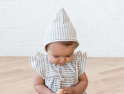 Grey Stripe Pixie Bonnet - Quincy Mae 010CS