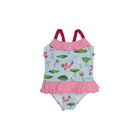 Cute & Koi w/ Hamptons Hot Pink Rodeo Dr. Ruffle Swimsuit Beaufort Bonnet Company