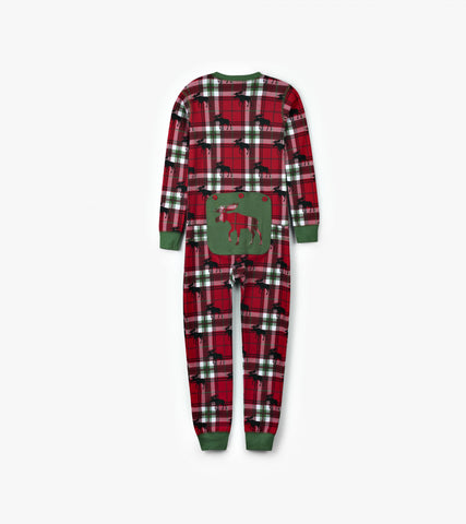 Holiday Moose on Plaid Kids Unionsuit - Little Blue House By: Hatley