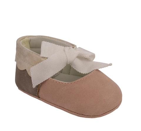 Infant Pink and Tan Ankle Tie Shoes - Trimfoot Baby Deer