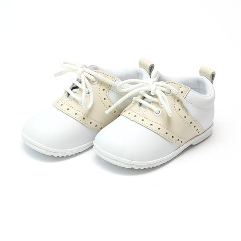 Infant Boys Leather Dress Lace Up Oxfords - White & Beige Austin by: Angel Baby Shoe 2342