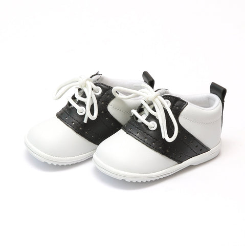 Infant Boys Leather Dress Lace Up Oxfords - White & Black Austin by: Angel Baby Shoe 2342
