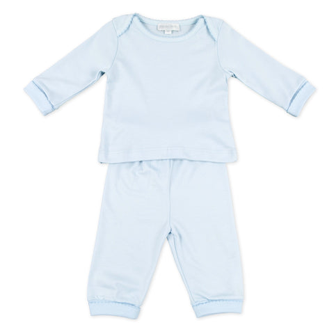 2 Piece Loungewear - Magnolia Baby Essentials Blue w/ Blue Trim
