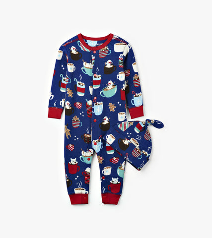 Blue Holiday Cocoa Infant Coverall & Cap - Little Blue House By: Hatley