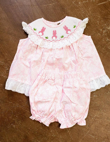 Girls Bunny Smocked Bloomer set Banana Split 208