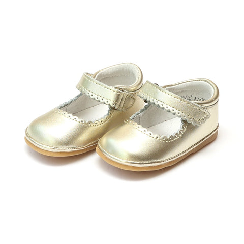 Scalloped Leather Mary Jane in Gold - Angel Baby Shoe F202 Fall 2018
