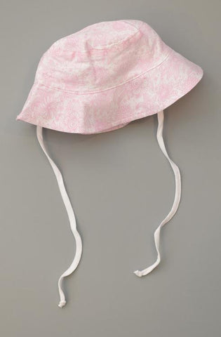 Girl Sun Hat in Chloe's Floral Pink on White - Feather Baby