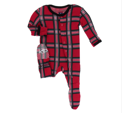 Christmas Plaid 2019 Footie w/ Snaps - Kickee Pants Holiday 2019