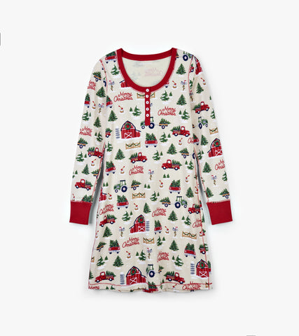 Women's Country Christmas Long Sleeve Night Dress - Little Blue House By: Hatley