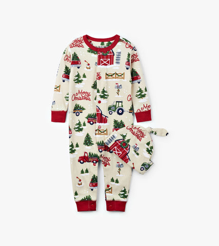 Country Christmas Infant Coverall & Cap - Little Blue House By: Hatley Fall 2018
