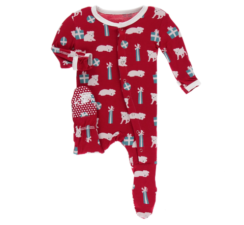 Crimson Puppies Footie w/ Snaps - Kickee Pants Holiday 2019