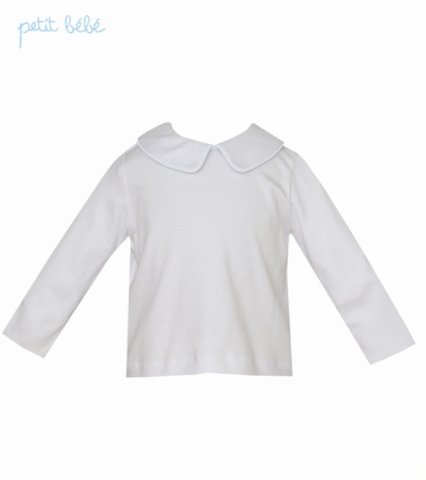 White Knit Long Sleeve Peter Pan Collar Shirt - Petit Bebe 460