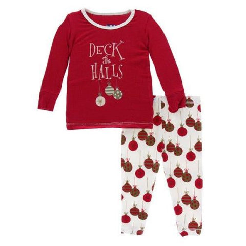 Crimson Deck the Halls Long Sleeve Pajama Set - Kickee Pants Holiday 2019