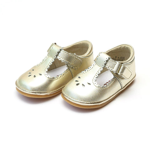 Scalloped Trim Leather Mary Jane in Gold - Angel Baby Shoe F210 Dottie