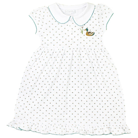 Duck Pond Embroidered Collared Short Sleeve Toddler Dress in Celery - Magnolia Baby Fall 2019