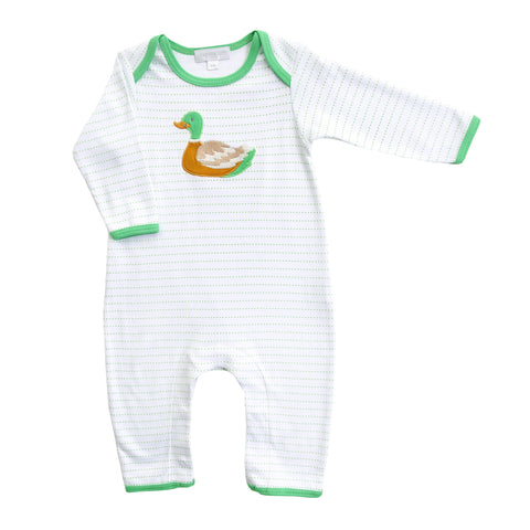 Duck Pond Applique Green Playsuit - Magnolia Baby Fall 2019