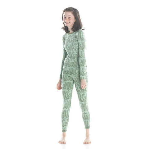 Shore Ferns Long Sleeve Pajama Set - Kickee Pants