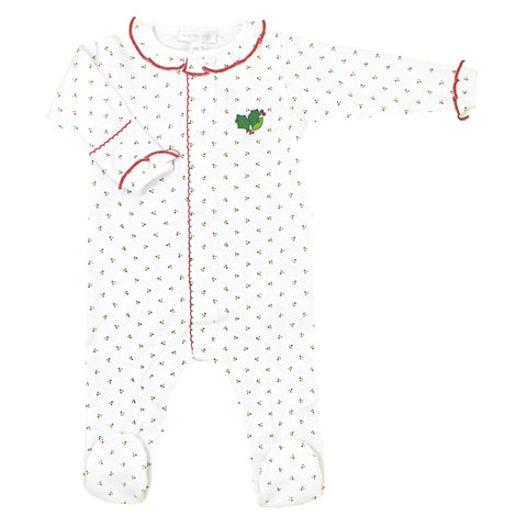 Happy Holly-Days! White & Red Embroidered Ruffle Footie - Magnolia Baby Fall 2019 5540