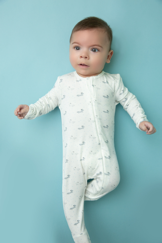 Baby Fox Grey Zipper Bamboo Footie - Angel Dear Fall 2019 5322