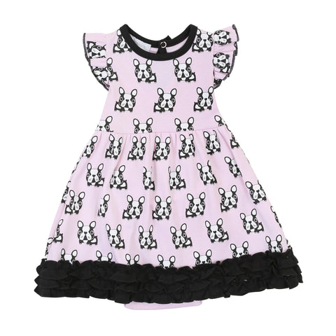 French Bulldogs Print Ruffle Dress Toddler- Magnolia Baby 609T  Spring 2020