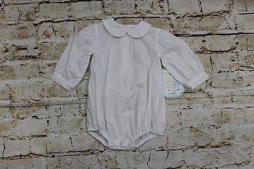 Girls White Piped Long Sleeve Onesie  - Remember Nguyen  - XGPO