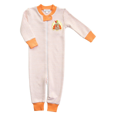 Gobble Til You Wobble Applique Orange Zipped Pajamas - Magnolia Baby Fall 2019