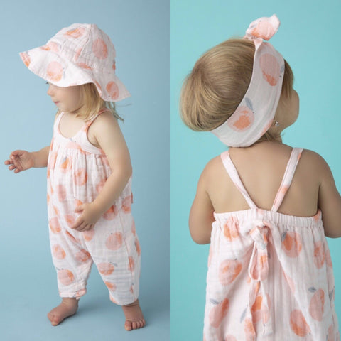 Peachy Muslin Romper w/ Tie Bow Back - Angel Dear Spring 2019 772