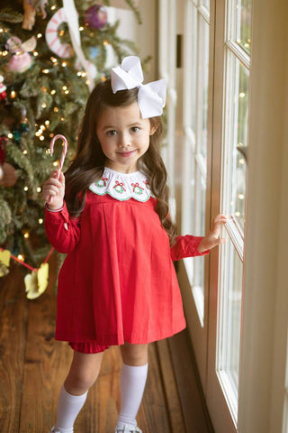 Rachel Red Wreath Bloomer Set - The Oaks Apparel 5532